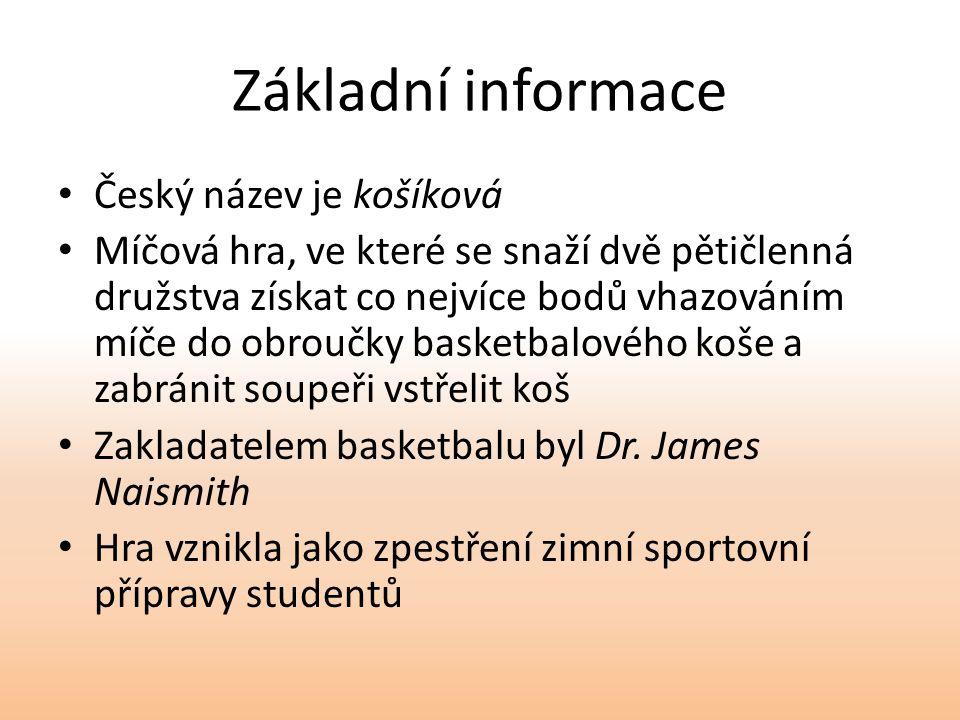 Základní informace Český název je košíková Míčová hra, ve které se snaží dvě pětičlenná družstva získat co nejvíce bodů vhazováním míče do obroučky basketbalového koše a zabránit soupeři vstřelit koš Zakladatelem basketbalu byl Dr.