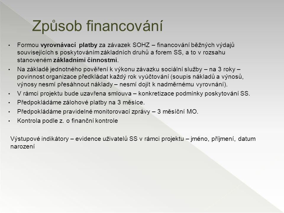 Formou vyrovnávací platby za závazek SOHZ – financování běžných výdajů souvisejících s poskytováním základních druhů a forem SS, a to v rozsahu stanov