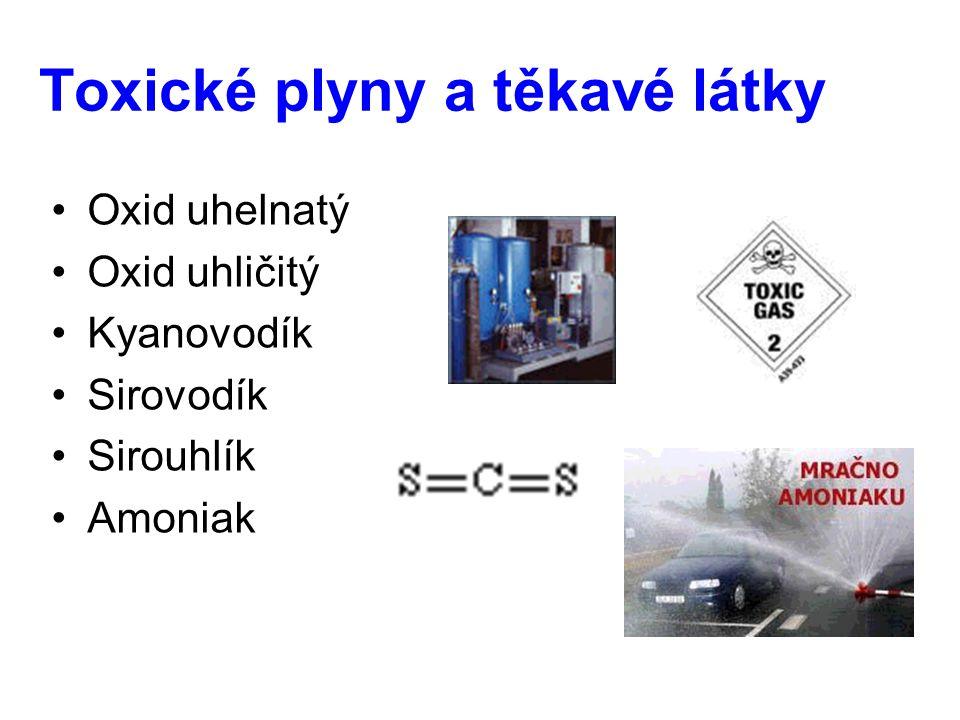 Toxické plyny a těkavé látky Oxid uhelnatý Oxid uhličitý Kyanovodík Sirovodík Sirouhlík Amoniak
