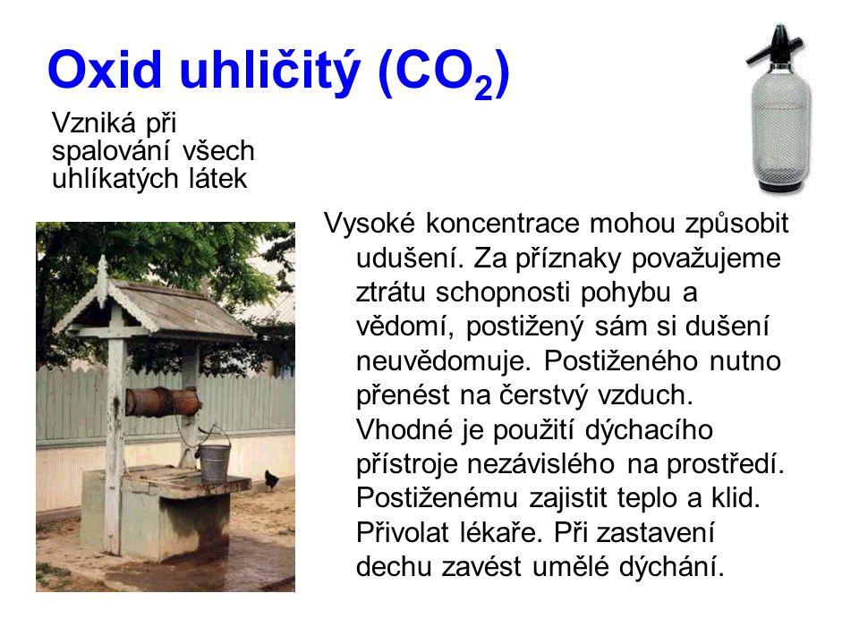 Oxid uhličitý (CO 2 ) Vysoké koncentrace mohou způsobit udušení.