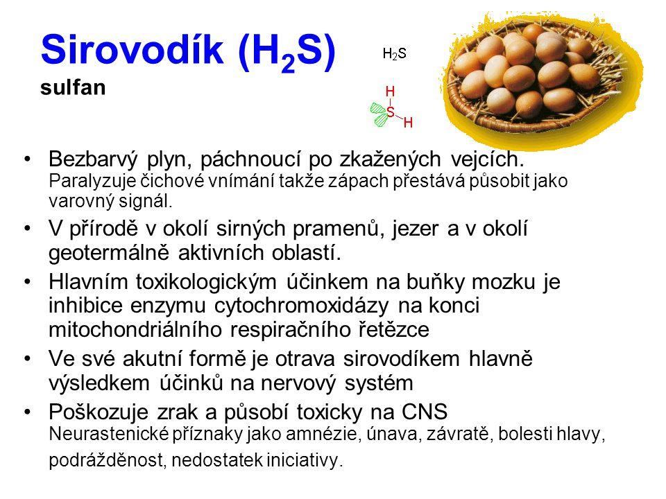 Sirovodík (H 2 S) sulfan Bezbarvý plyn, páchnoucí po zkažených vejcích.