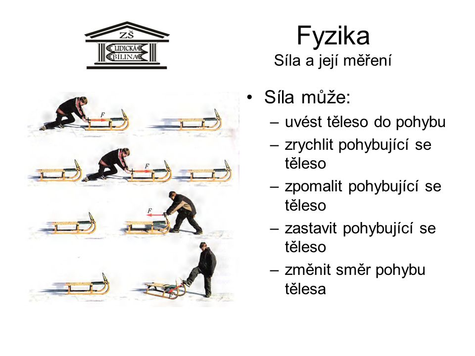 Fyzika Síla a její měření Síla může: –uvést těleso do pohybu –zrychlit pohybující se těleso –zpomalit pohybující se těleso –zastavit pohybující se těleso –změnit směr pohybu tělesa