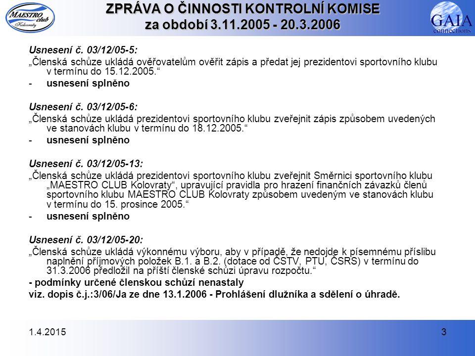 1.4.20153 ZPRÁVA O ČINNOSTI KONTROLNÍ KOMISE za období 3.11.2005 - 20.3.2006 Usnesení č.
