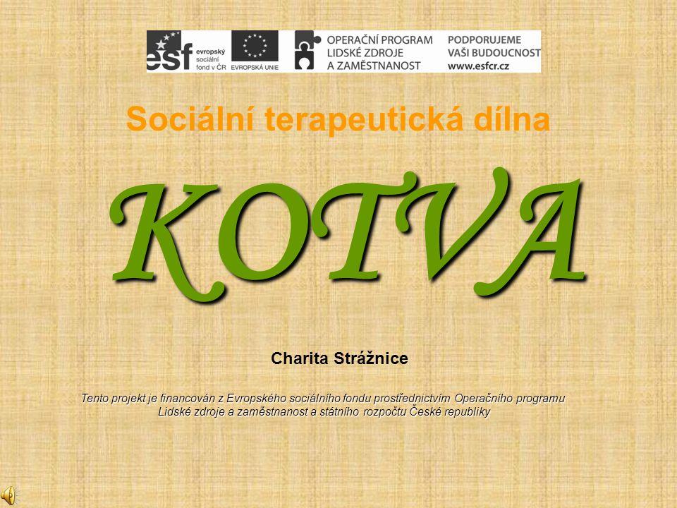 Sociální terapeutická dílna KOTVA Charita Strážnice Tento projekt je financován z Evropského sociálního fondu prostřednictvím Operačního programu Lidské zdroje a zaměstnanost a státního rozpočtu České republiky Lidské zdroje a zaměstnanost a státního rozpočtu České republiky