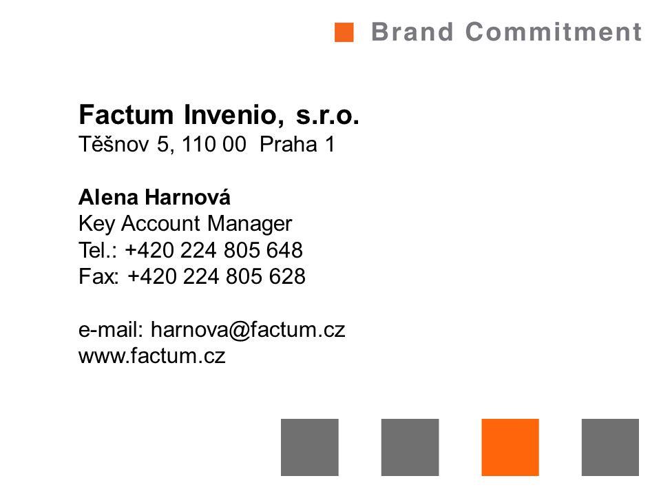Factum Invenio, s.r.o. Těšnov 5, 110 00 Praha 1 Alena Harnová Key Account Manager Tel.: +420 224 805 648 Fax: +420 224 805 628 e-mail: harnova@factum.