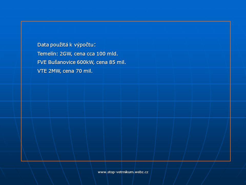 www.stop-vetrnikum.webz.cz Data použitá k výpočtu : Temelín: 2GW, cena cca 100 mld.