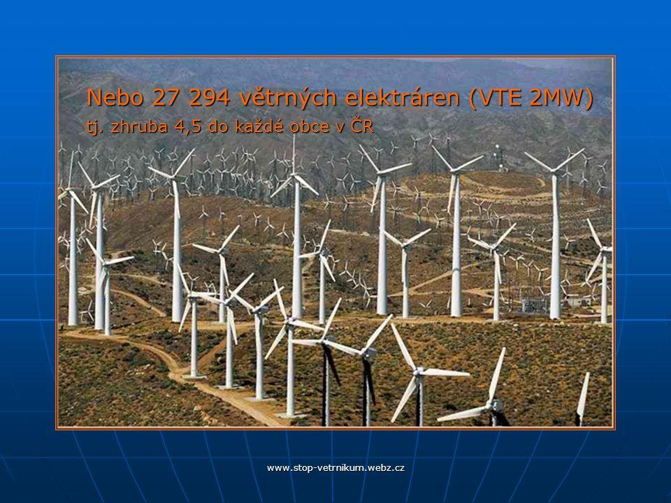 www.stop-vetrnikum.webz.cz Nebo 27 294 větrných elektráren (VTE 2MW) tj.