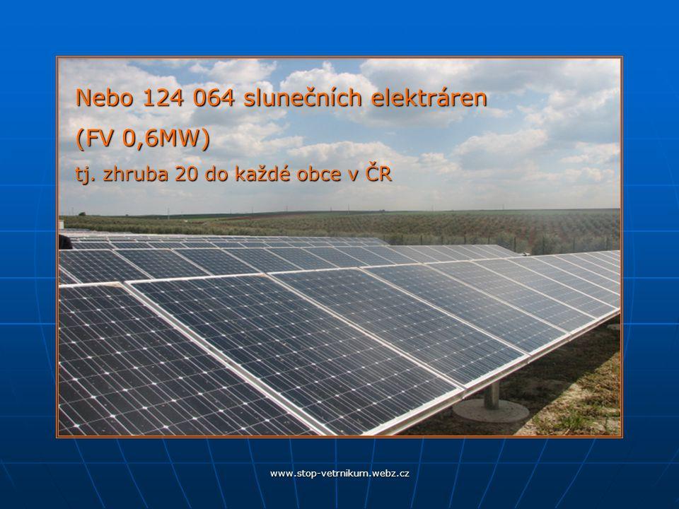 Nebo 124 064 slunečních elektráren (FV 0,6MW) tj. zhruba 20 do každé obce v ČR