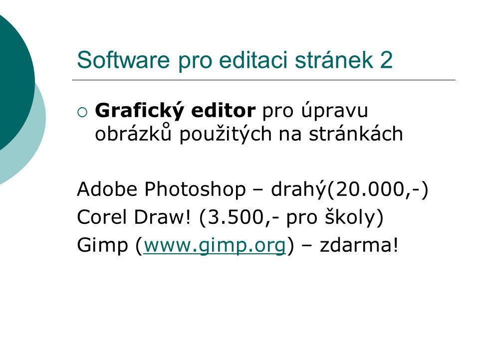 Software pro editaci stránek 2  Grafický editor pro úpravu obrázků použitých na stránkách Adobe Photoshop – drahý(20.000,-) Corel Draw! (3.500,- pro