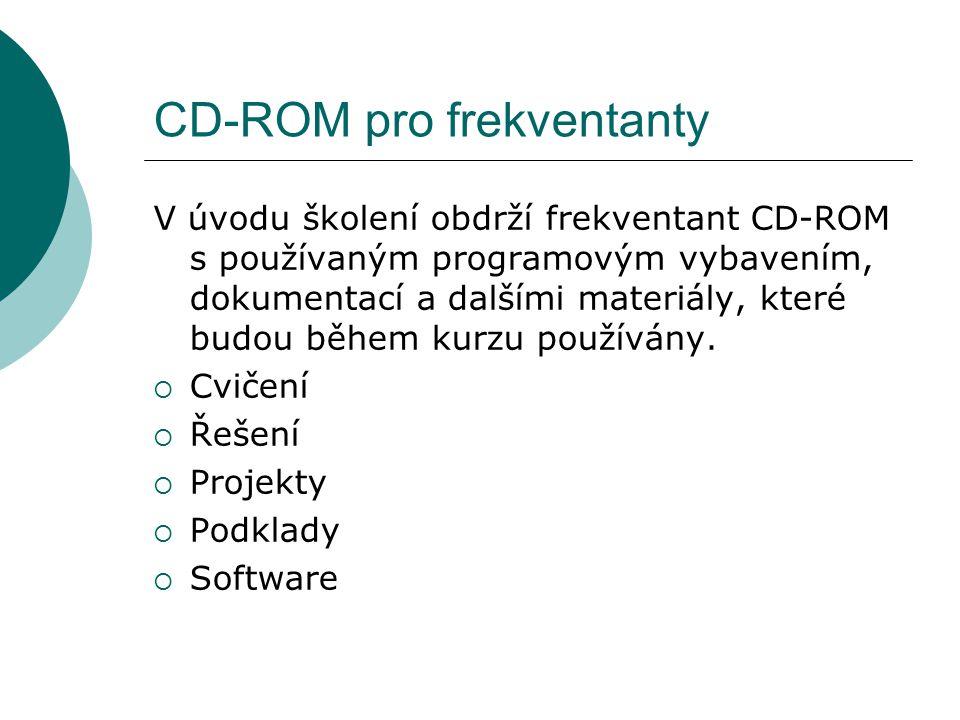 CD-ROM pro frekventanty V úvodu školení obdrží frekventant CD-ROM s používaným programovým vybavením, dokumentací a dalšími materiály, které budou běh