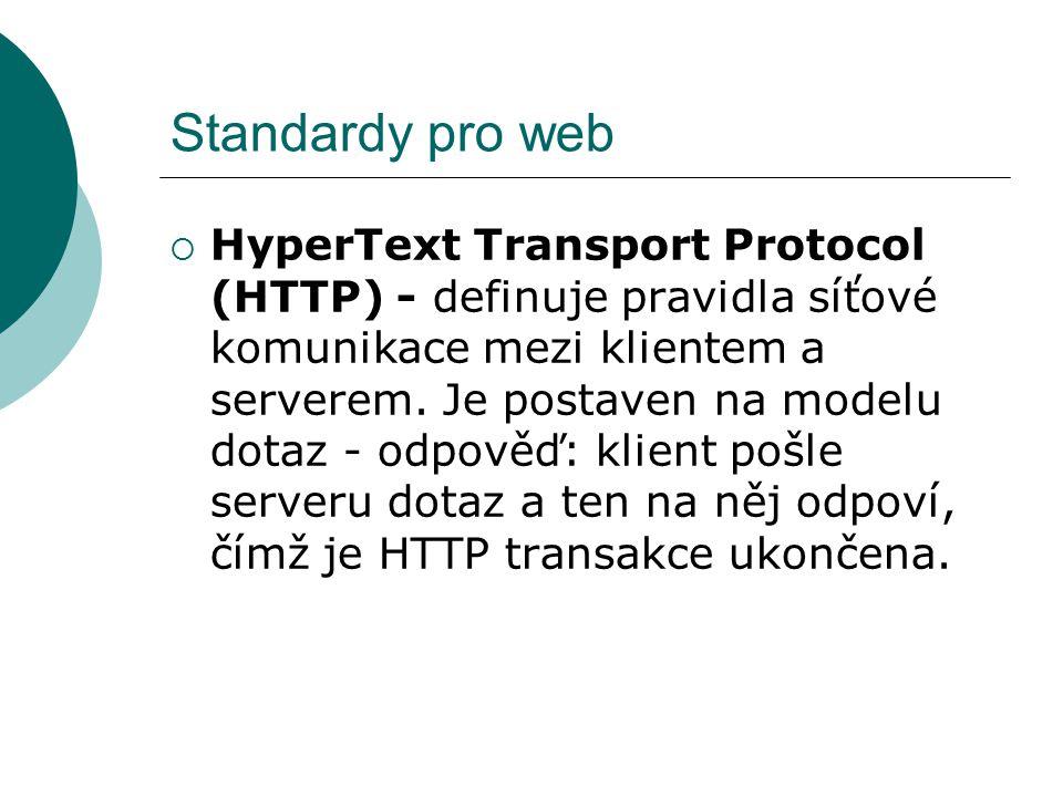 Standardy pro web  HyperText Transport Protocol (HTTP) - definuje pravidla síťové komunikace mezi klientem a serverem. Je postaven na modelu dotaz -