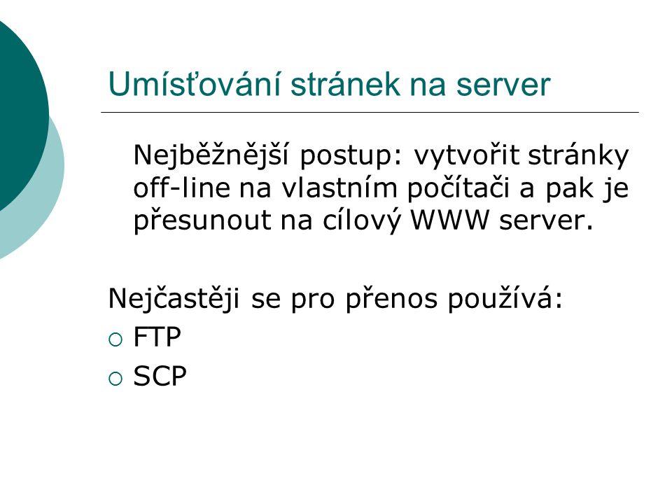 Umísťování stránek na server Nejběžnější postup: vytvořit stránky off-line na vlastním počítači a pak je přesunout na cílový WWW server. Nejčastěji se