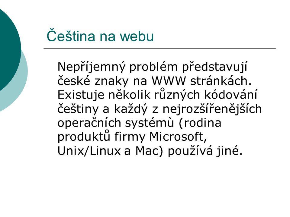 Čeština na webu Nepříjemný problém představují české znaky na WWW stránkách. Existuje několik různých kódování češtiny a každý z nejrozšířenějších ope