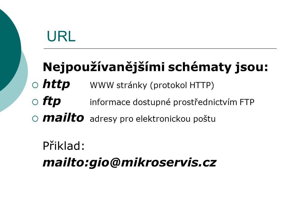 URL Nejpoužívanějšími schématy jsou:  http WWW stránky (protokol HTTP)  ftp informace dostupné prostřednictvím FTP  mailto adresy pro elektronickou