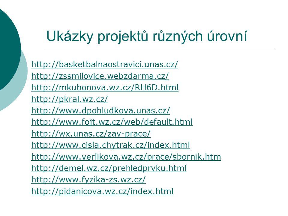 Ukázky projektů různých úrovní http://basketbalnaostravici.unas.cz/ http://zssmilovice.webzdarma.cz/ http://mkubonova.wz.cz/RH6D.html http://pkral.wz.