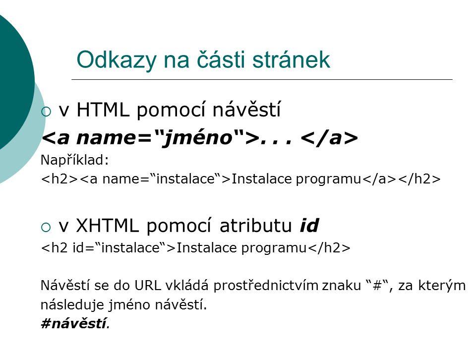 Odkazy na části stránek  v HTML pomocí návěstí... Například: Instalace programu  v XHTML pomocí atributu id Instalace programu Návěstí se do URL vkl