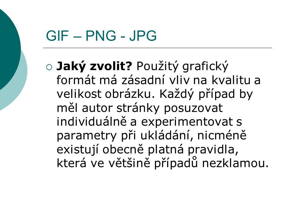 GIF – PNG - JPG  Jaký zvolit? Použitý grafický formát má zásadní vliv na kvalitu a velikost obrázku. Každý případ by měl autor stránky posuzovat indi