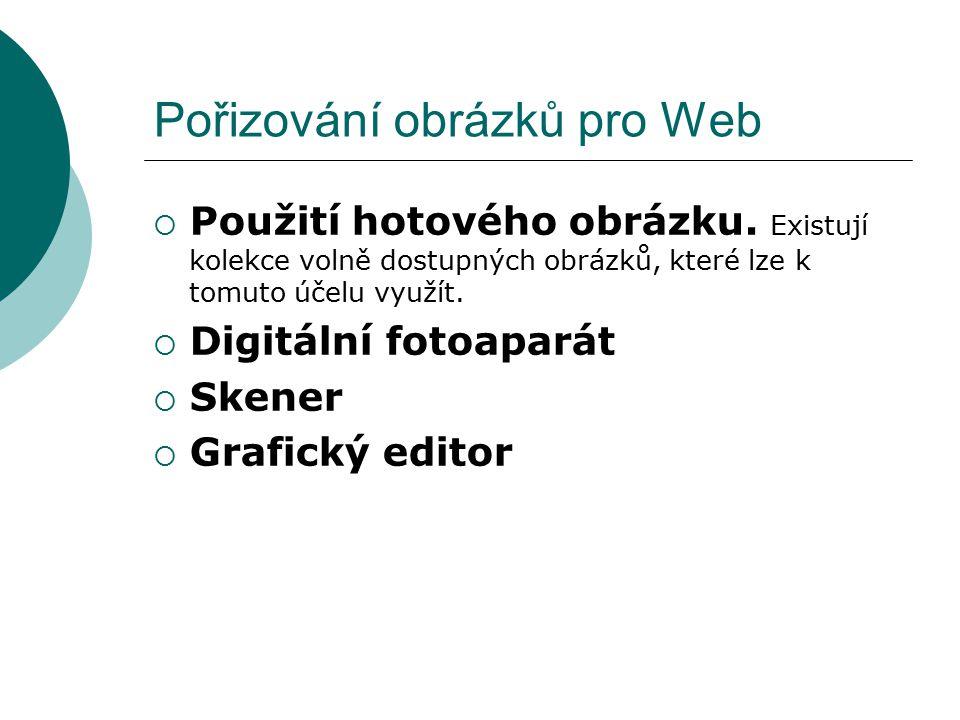 Pořizování obrázků pro Web  Použití hotového obrázku. Existují kolekce volně dostupných obrázků, které lze k tomuto účelu využít.  Digitální fotoapa