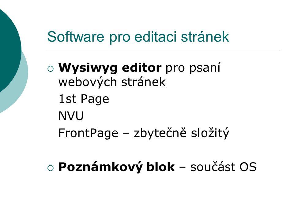 Software pro editaci stránek  Wysiwyg editor pro psaní webových stránek 1st Page NVU FrontPage – zbytečně složitý  Poznámkový blok – součást OS