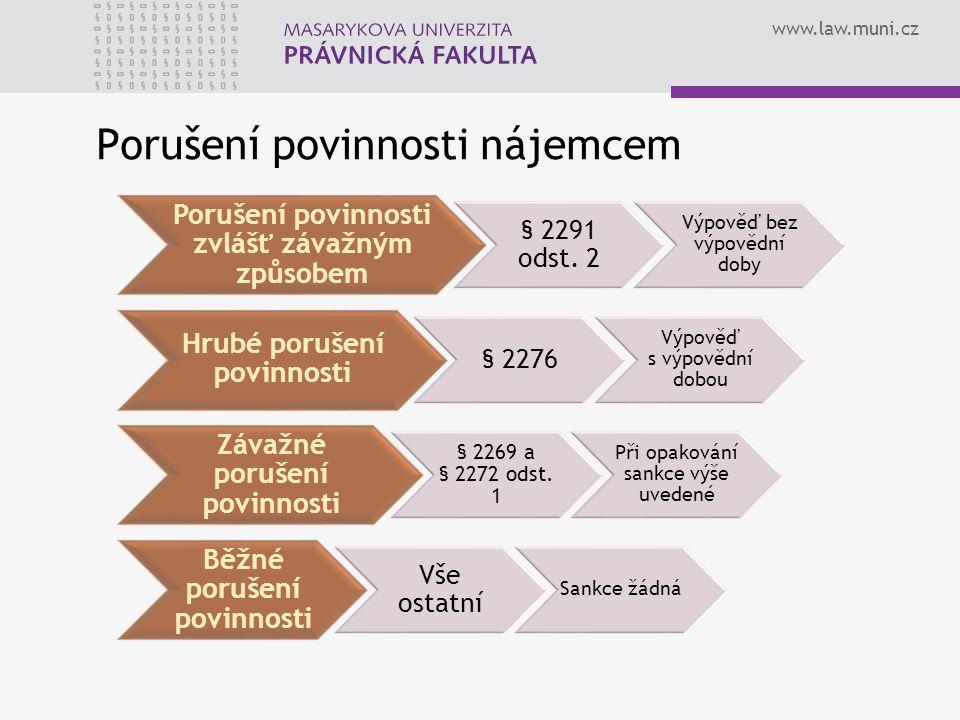 www.law.muni.cz Porušení povinnosti nájemcem Porušení povinnosti zvlášť závažným způsobem § 2291 odst. 2 Výpověď bez výpovědní doby Hrubé porušení pov