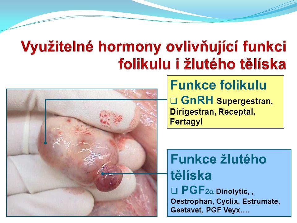 Funkce folikulu  GnRH Supergestran, Dirigestran, Receptal, Fertagyl Funkce žlutého tělíska  PGF 2  Dinolytic,, Oestrophan, Cyclix, Estrumate, Gesta