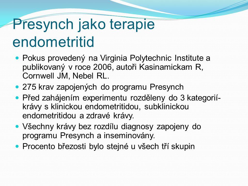 Presynch jako terapie endometritid Pokus provedený na Virginia Polytechnic Institute a publikovaný v roce 2006, autoři Kasinamickam R, Cornwell JM, Ne