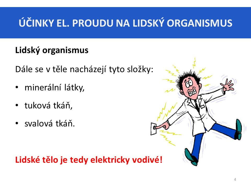 ÚČINKY EL. PROUDU NA LIDSKÝ ORGANISMUS 4 Lidský organismus Dále se v těle nacházejí tyto složky: minerální látky, tuková tkáň, svalová tkáň. Lidské tě