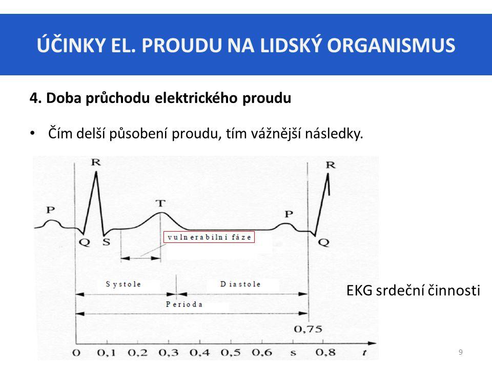 ÚČINKY EL. PROUDU NA LIDSKÝ ORGANISMUS 9 4. Doba průchodu elektrického proudu Čím delší působení proudu, tím vážnější následky. EKG srdeční činnosti