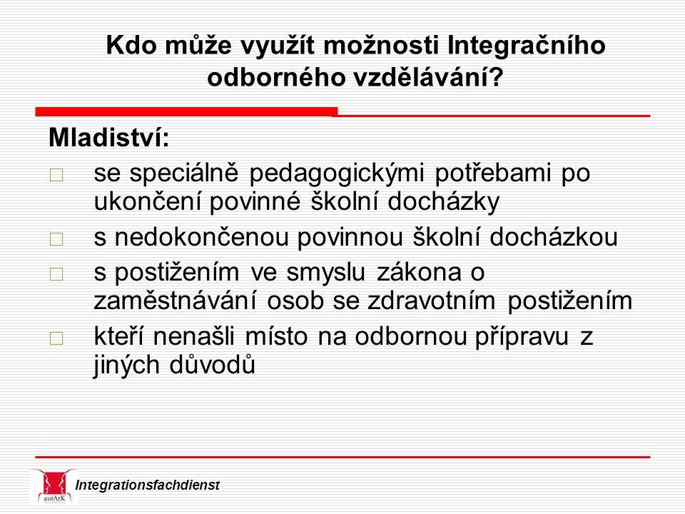 Integrationsfachdienst Kdo může využít možnosti Integračního odborného vzdělávání.