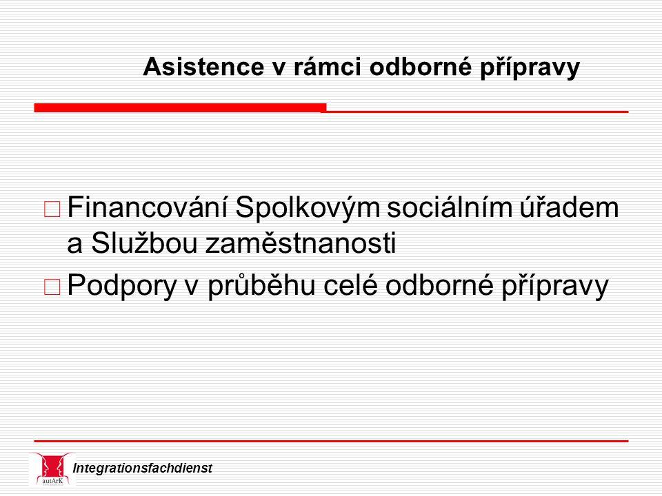 Integrationsfachdienst Asistence v rámci odborné přípravy  Financování Spolkovým sociálním úřadem a Službou zaměstnanosti  Podpory v průběhu celé odborné přípravy