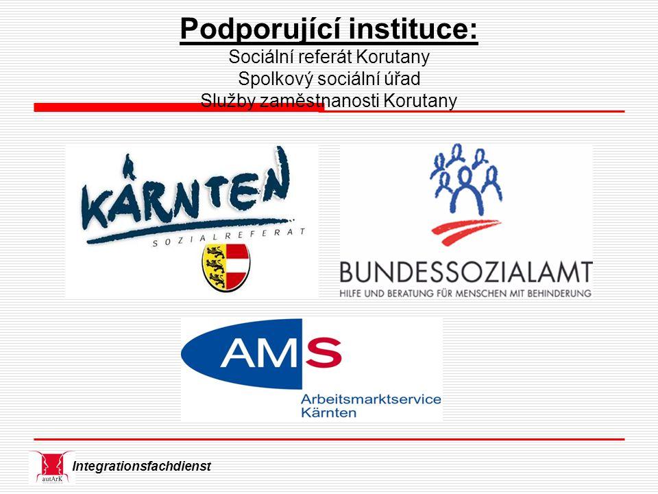 Integrationsfachdienst Podporující instituce: Sociální referát Korutany Spolkový sociální úřad Služby zaměstnanosti Korutany