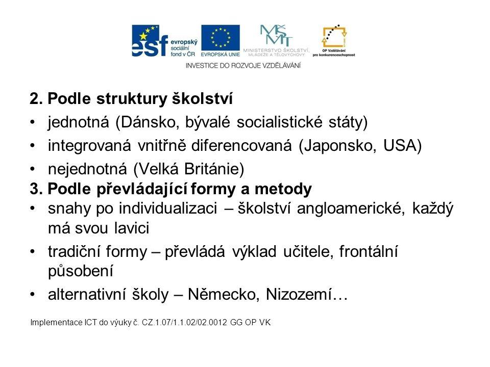 2. Podle struktury školství jednotná (Dánsko, bývalé socialistické státy) integrovaná vnitřně diferencovaná (Japonsko, USA) nejednotná (Velká Británie