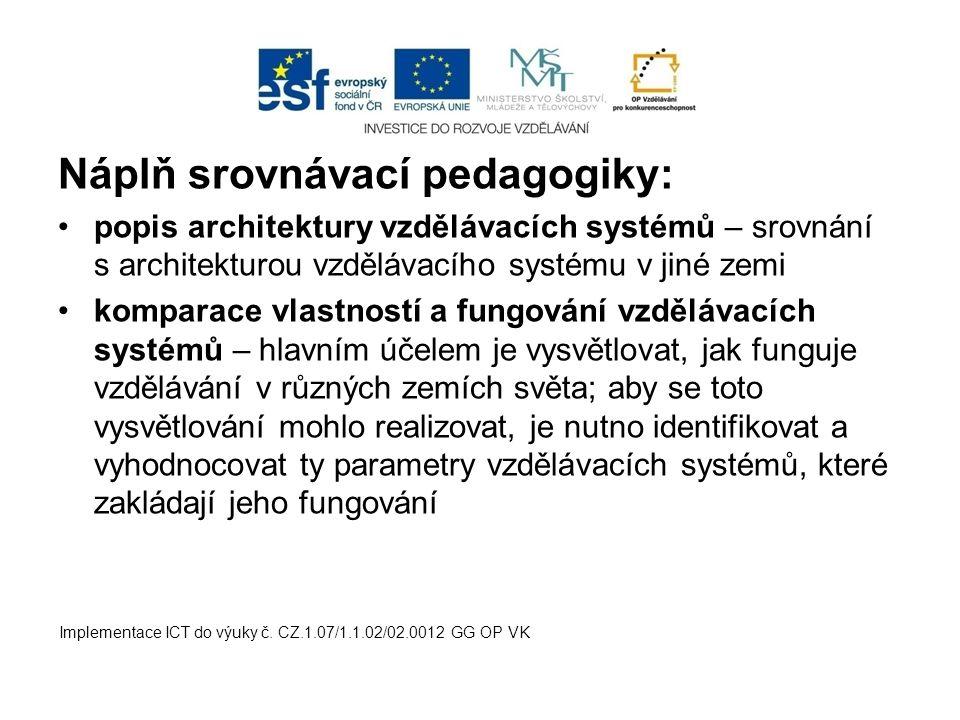 Náplň srovnávací pedagogiky: popis architektury vzdělávacích systémů – srovnání s architekturou vzdělávacího systému v jiné zemi komparace vlastností