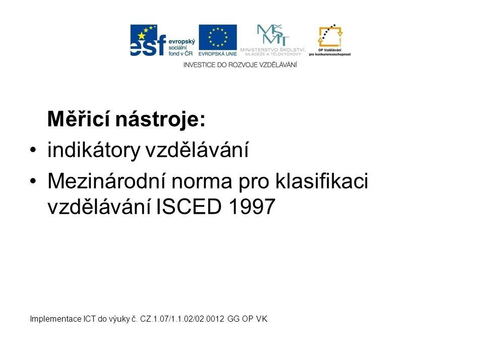 Měřicí nástroje: indikátory vzdělávání Mezinárodní norma pro klasifikaci vzdělávání ISCED 1997 Implementace ICT do výuky č. CZ.1.07/1.1.02/02.0012 GG