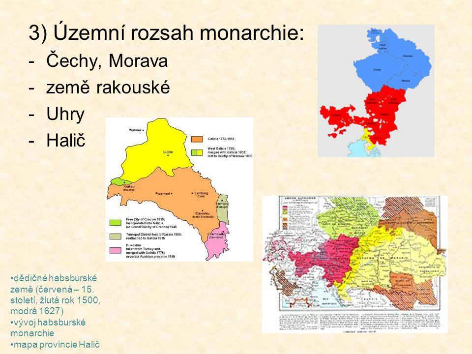 3) Územní rozsah monarchie: -Čechy, Morava -země rakouské -Uhry -Halič dědičné habsburské země (červená – 15. století, žlutá rok 1500, modrá 1627) výv