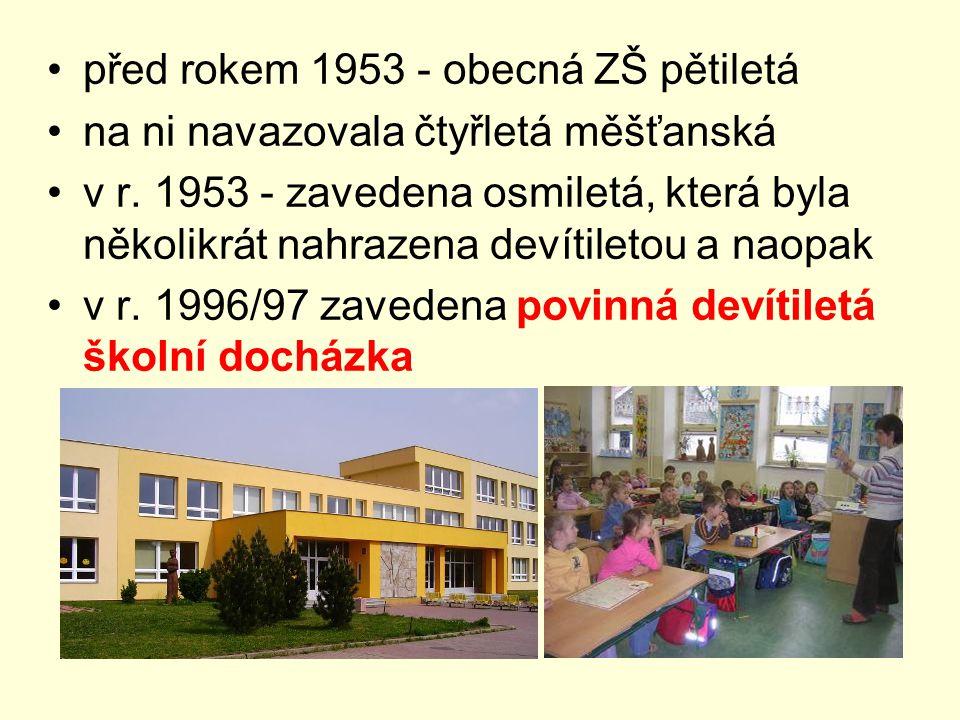 před rokem 1953 - obecná ZŠ pětiletá na ni navazovala čtyřletá měšťanská v r. 1953 - zavedena osmiletá, která byla několikrát nahrazena devítiletou a