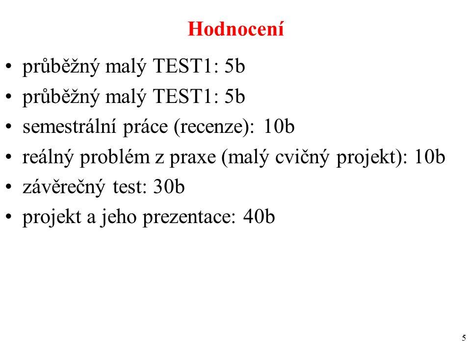 5 Hodnocení průběžný malý TEST1: 5b semestrální práce (recenze): 10b reálný problém z praxe (malý cvičný projekt): 10b závěrečný test: 30b projekt a j