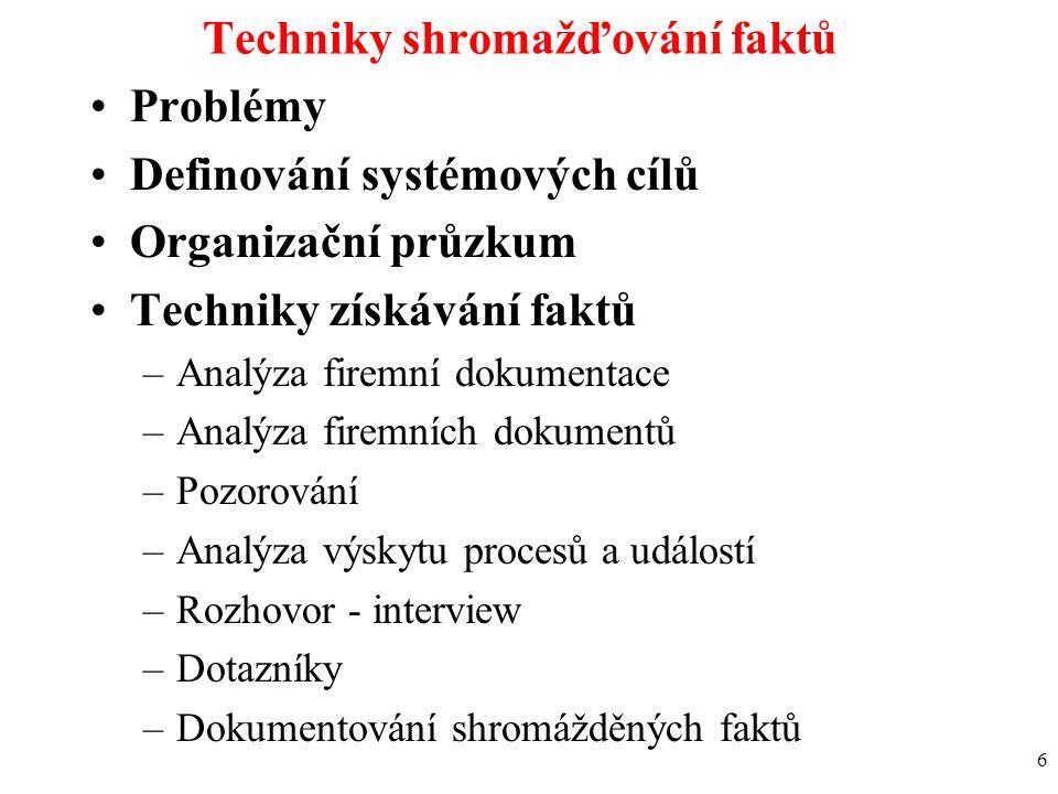 6 Techniky shromažďování faktů Problémy Definování systémových cílů Organizační průzkum Techniky získávání faktů –Analýza firemní dokumentace –Analýza