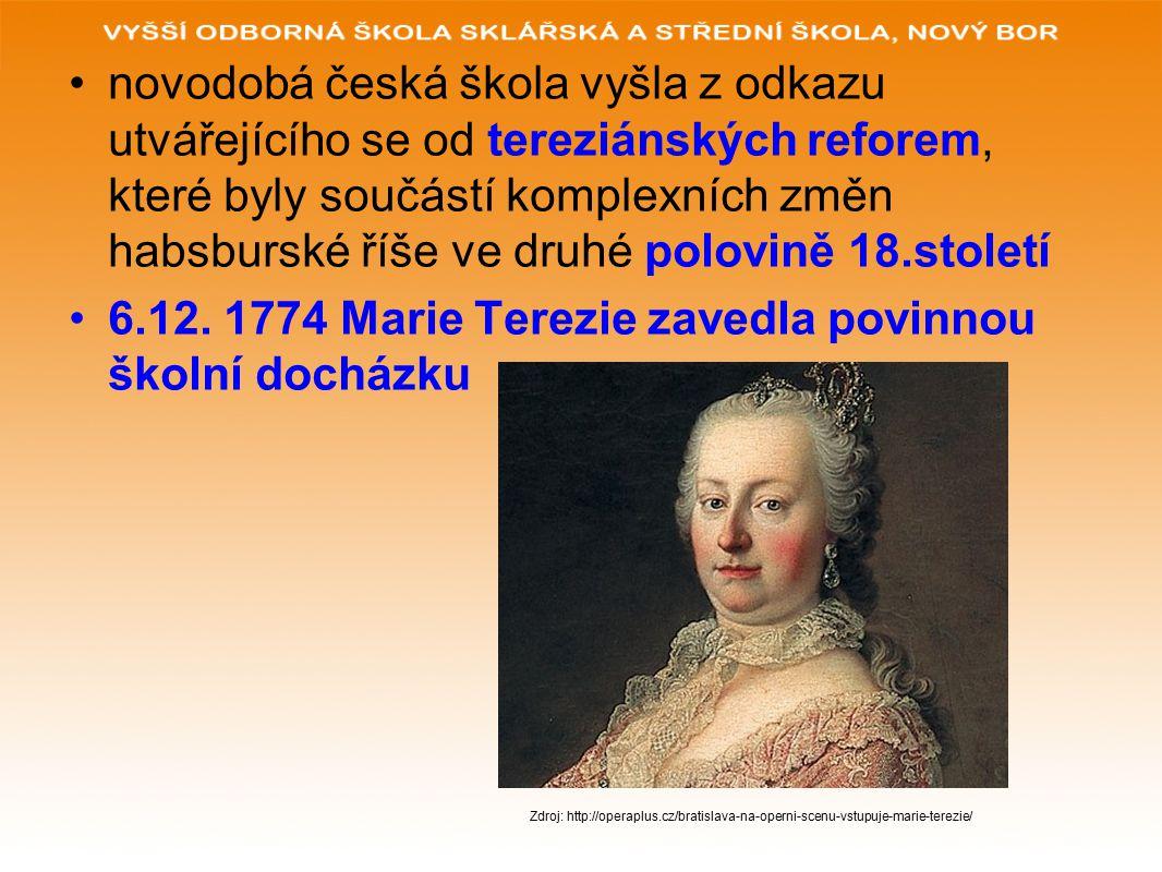 novodobá česká škola vyšla z odkazu utvářejícího se od tereziánských reforem, které byly součástí komplexních změn habsburské říše ve druhé polovině 18.století 6.12.