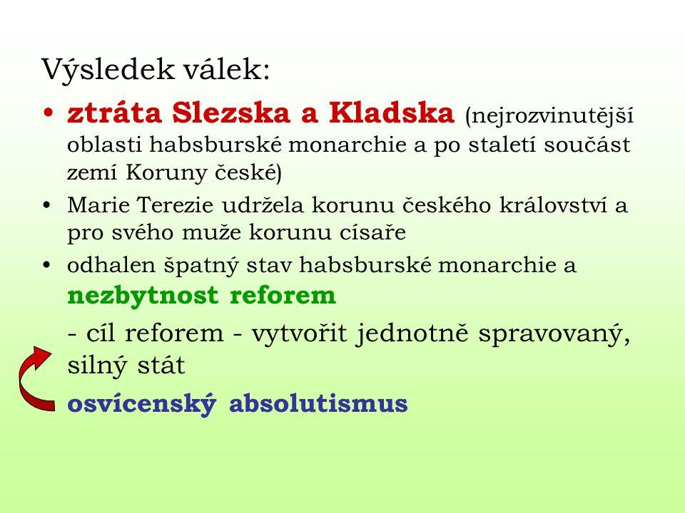 Výsledek válek: ztráta Slezska a Kladska (nejrozvinutější oblasti habsburské monarchie a po staletí součást zemí Koruny české) Marie Terezie udržela k