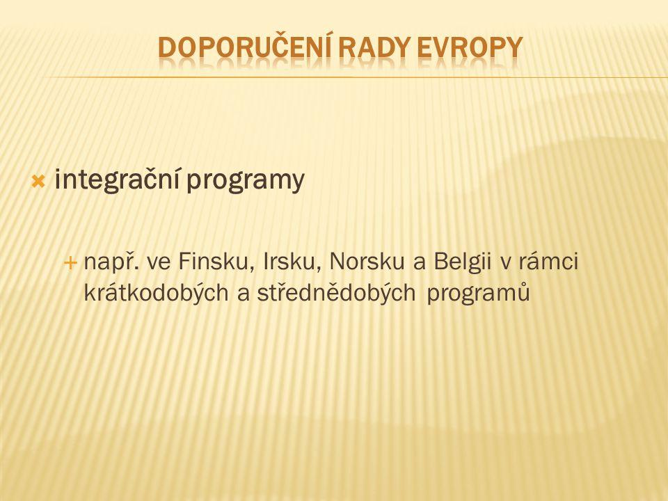  Finsko - program rozvoje multikulturních dovedností ve všeobecném vzdělávání (2007–2011)  příliv národností z Ruska, Somálska, Albánie, Estonska a příslušníků kurdské národnosti (povinná školní docházka)  Finský program je zaměřen na žáky-migranty :  a) v předškolním věku (6 let)  b) na ZŠ (7–16 let)  škola získává dvojitý grant na žáka-cizince v jeho prvním roce studia, individuální vzdělávací plán  možnost studovat švédštinu, finštinu a svůj rodný jazyk ve skupinové výuce vedené učitelem a jeho asistentem  povinností zřizovatele je nabídnout žáku-cizinci výuku v jeho rodném jazyce, přičemž finský školský zákon garantuje výuku náboženství v rodném jazyce žáka-cizince  Finsko vypracovalo kurikulum pro žáky/studenty – finština (švédština) jako cizí jazyk  Pedagogové žáků-cizinců jsou doškolováni pro výuku finštiny jako cizího jazyka; finančně hodnoceni už i za výuku minimálně dvou žáků-cizinců  jednotlivé obce pak mají vypracovány multikulturní integrační programy pro efektivní začleňování nejen žáků-cizinců, ale všech žáků do základního vzdělávání (10 bodů – viz materiál)
