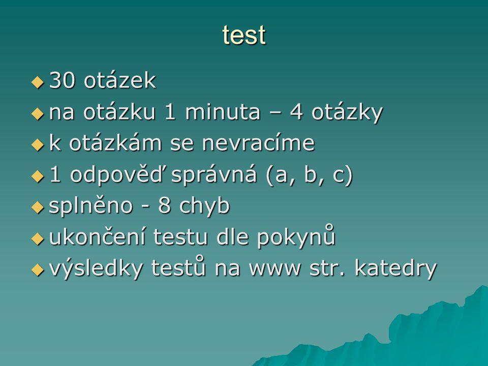 test  30 otázek  na otázku 1 minuta – 4 otázky  k otázkám se nevracíme  1 odpověď správná (a, b, c)  splněno - 8 chyb  ukončení testu dle pokynů  výsledky testů na www str.
