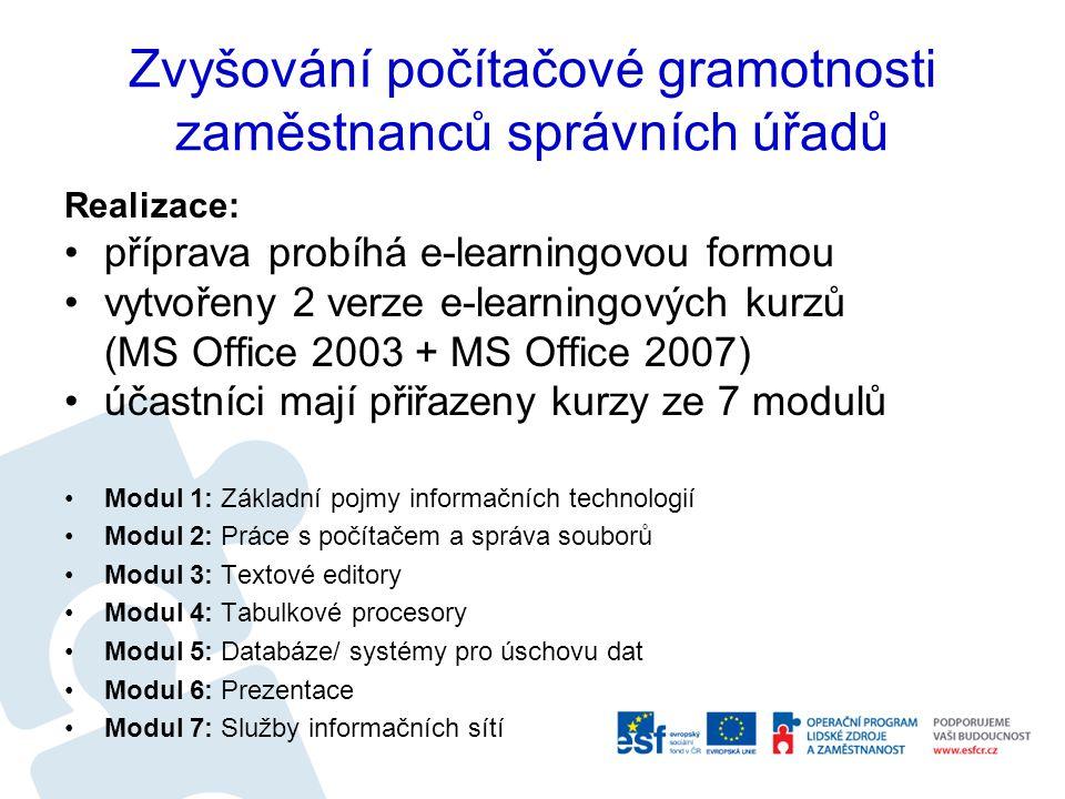 Zvyšování počítačové gramotnosti zaměstnanců správních úřadů Realizace: příprava probíhá e-learningovou formou vytvořeny 2 verze e-learningových kurzů