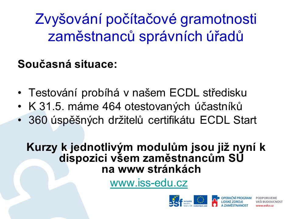 Zvyšování počítačové gramotnosti zaměstnanců správních úřadů Současná situace: Testování probíhá v našem ECDL středisku K 31.5. máme 464 otestovaných