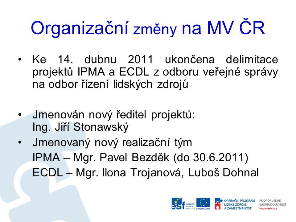 Organizační změny na MV ČR Ke 14. dubnu 2011 ukončena delimitace projektů IPMA a ECDL z odboru veřejné správy na odbor řízení lidských zdrojů Jmenován