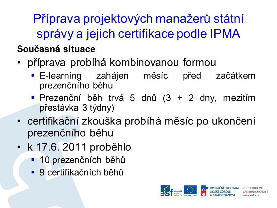 Příprava projektových manažerů státní správy a jejich certifikace podle IPMA Současná situace příprava probíhá kombinovanou formou  E-learning zaháje