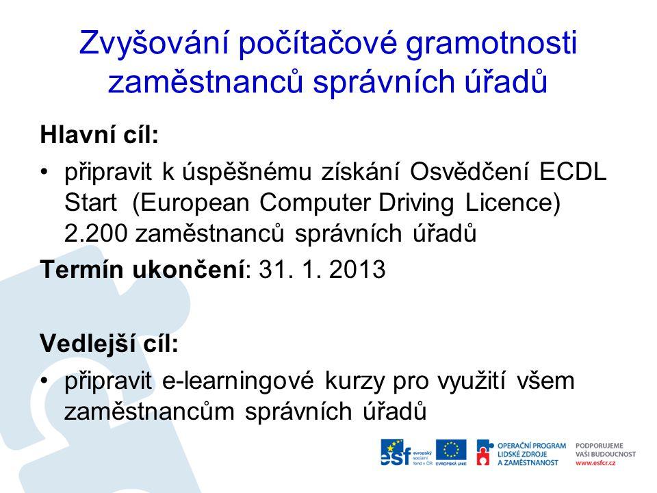 Zvyšování počítačové gramotnosti zaměstnanců správních úřadů Hlavní cíl: připravit k úspěšnému získání Osvědčení ECDL Start (European Computer Driving