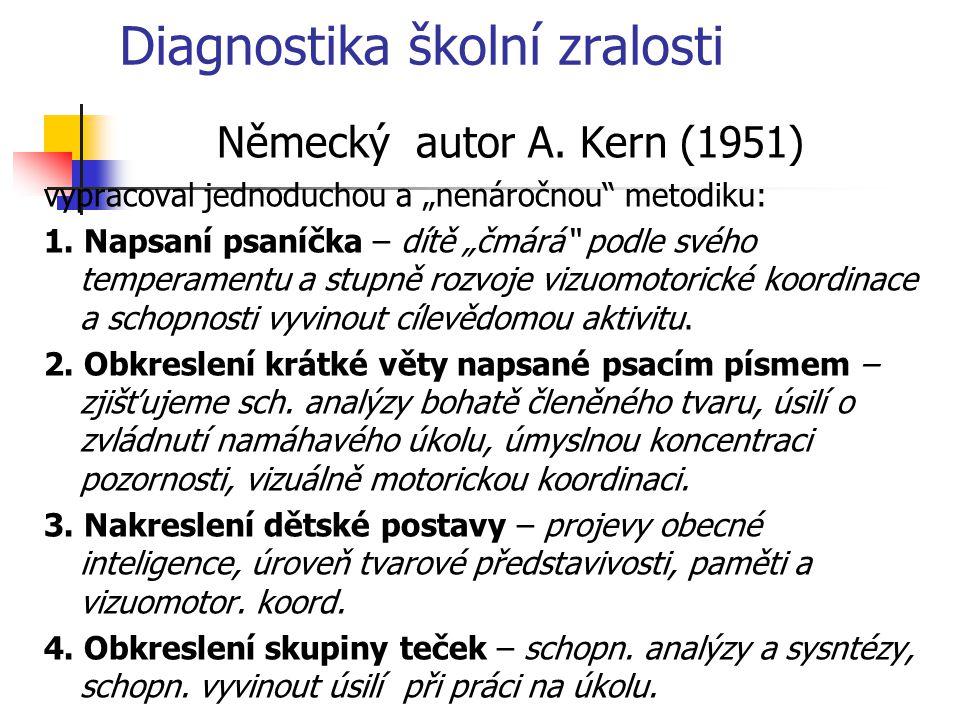 """Diagnostika školní zralosti Německý autor A. Kern (1951) vypracoval jednoduchou a """"nenáročnou"""" metodiku: 1. Napsaní psaníčka – dítě """"čmárá"""" podle svéh"""