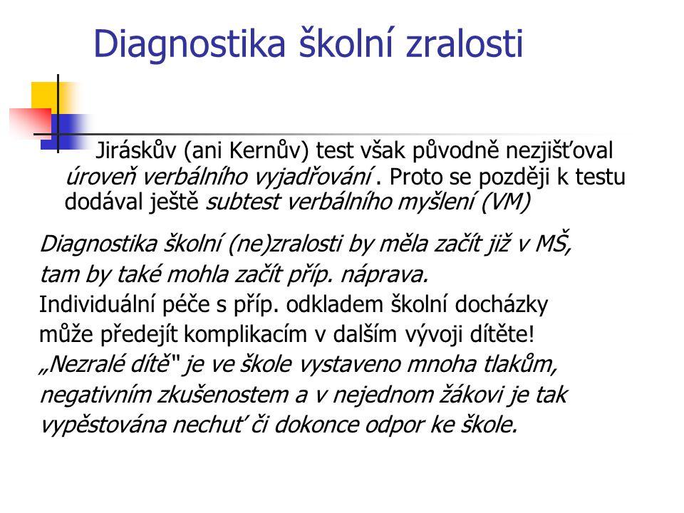 Diagnostika školní zralosti Jiráskův (ani Kernův) test však původně nezjišťoval úroveň verbálního vyjadřování. Proto se později k testu dodával ještě