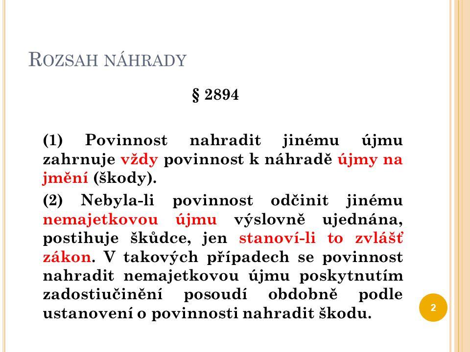 R OZSAH NÁHRADY § 2894 (1) Povinnost nahradit jinému újmu zahrnuje vždy povinnost k náhradě újmy na jmění (škody). (2) Nebyla-li povinnost odčinit jin